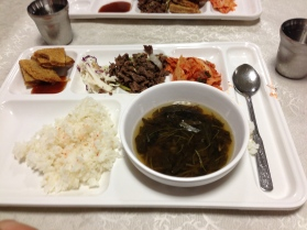 The cafeteria food--lots of rice and kimchi!