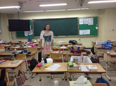 Meredith, our ETA host in Daejeon, and a typical Korean homeroom
